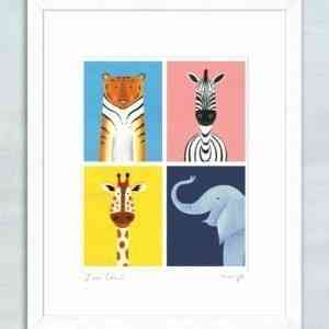 "'Zoo Crew' framed giclée print 11 x 14"""