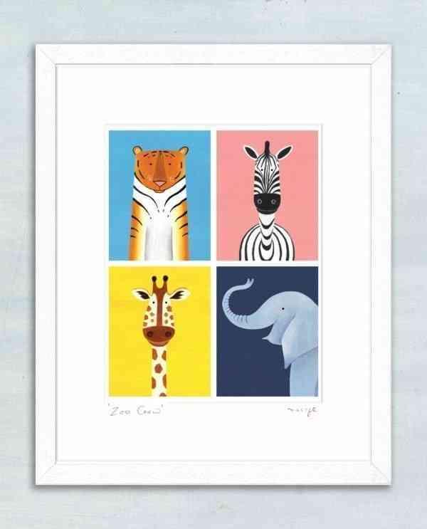 "'Zoo Crew' framed giclée print 11 x 14"" -"