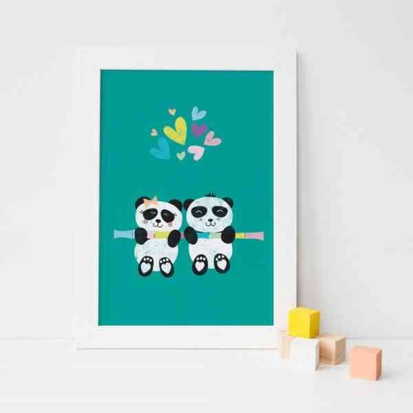 personalised Panda Twins Art Print