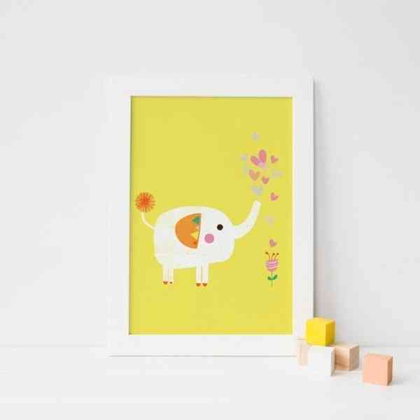 Elephant and Flower Art Print - 01elephant 1000px 1