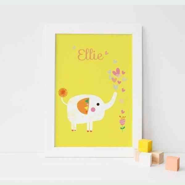 Elephant and Flower Art Print - 02CustomYellowElephant
