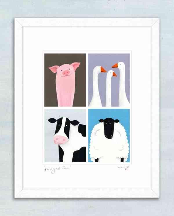 "'Farmyard Fun' framed giclée print 11 x 14"" -"