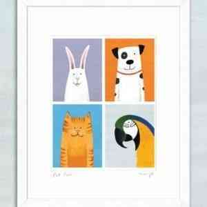 'Pet Pals' framed giclée print