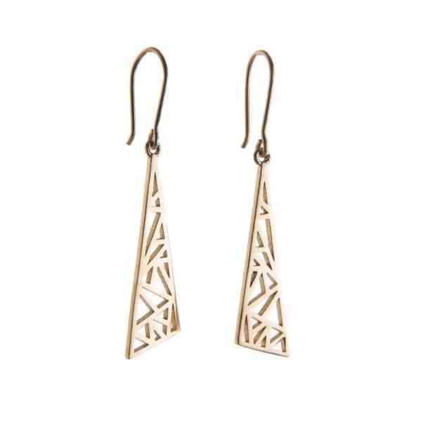 YELLOW GOLD DROP FLARE EARRINGS - Flare yellow gold earrings FLR06