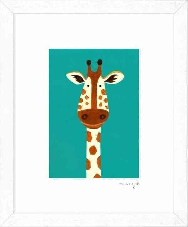 """'Gerry Giraffe' framed giclée print 8 x 10"""" -"""