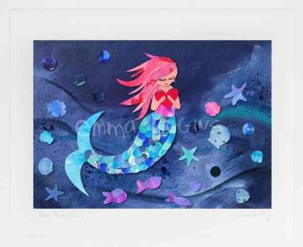 Ruby Mermaid Mounted Print - mermaid print WM 2