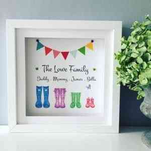 Family Wellies Personalised Framed Print