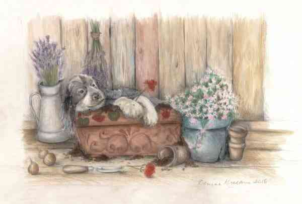 Dog in a Plantpot - Dog in a flower pot