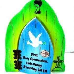 Communion Fairy Door - Blue and Green