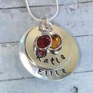 Stacked Name Chain with Birthstones