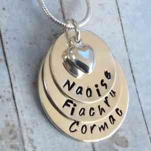 Stacked Name Chain with Heart Charm