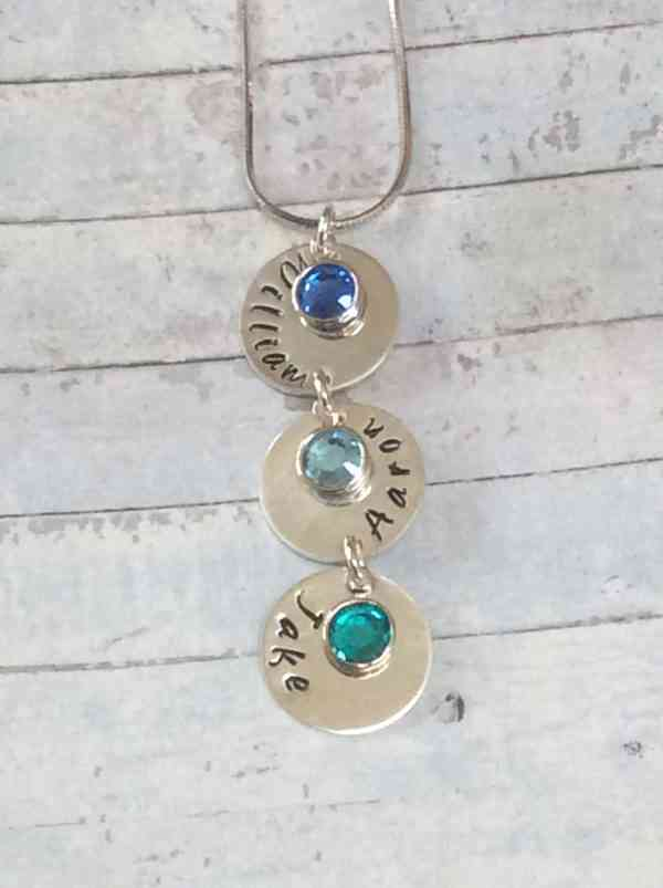 Vertical Name Chain with Birthstones