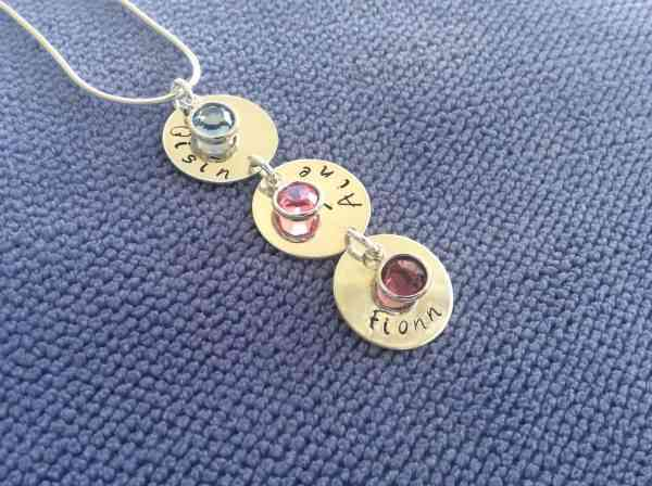 Vertical Name Chain with Birthstones - vertical2