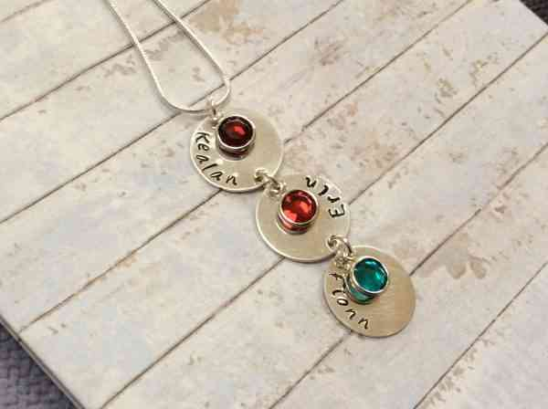 Vertical Name Chain with Birthstones - vertical3