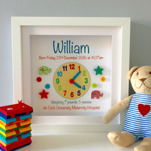 Baby Clock Print for Boy