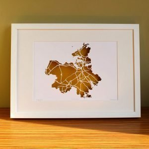 Co Sligo papercut map framed
