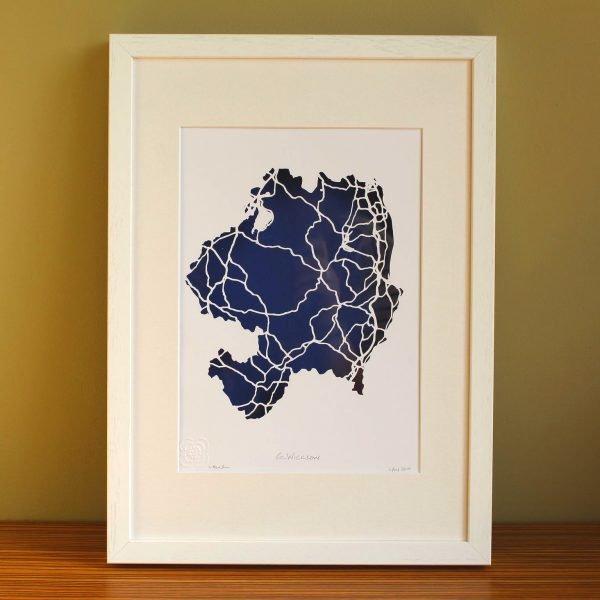 Co. Wicklow map framed