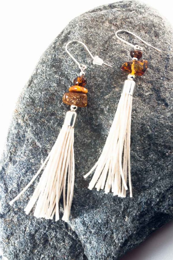 Amber Tassel Earrings IV - 3 Amber Earrings Ertisun Jewellery 2