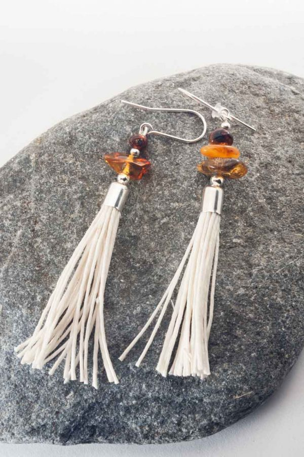Amber Tassel Earrings IV - 3 Amber Earrings Ertisun Jewellery 3