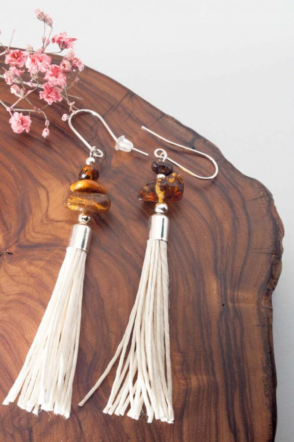 Amber Tassel Earrings IV - 3 Amber Earrings Ertisun Jewellery 4
