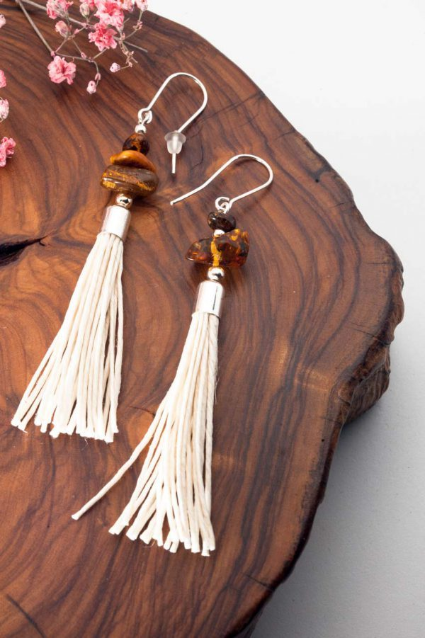 Amber Tassel Earrings IV - 3 Amber Earrings Ertisun Jewellery 5