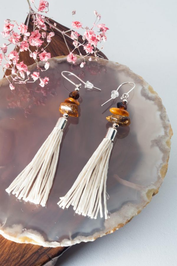 Amber Tassel Earrings IV - 3 Amber Earrings Ertisun Jewellery 6