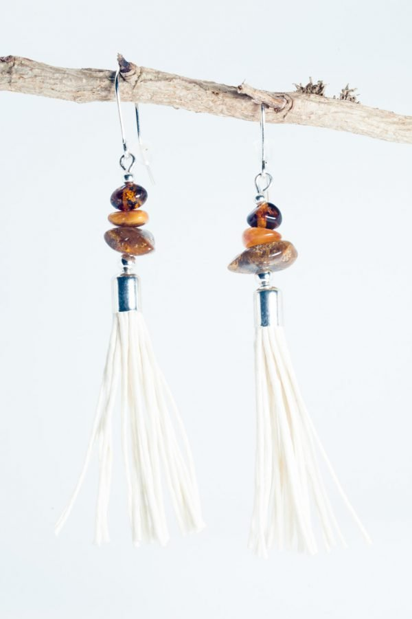 Amber Tassel Earrings IV - 3 Amber Earrings Ertisun Jewellery