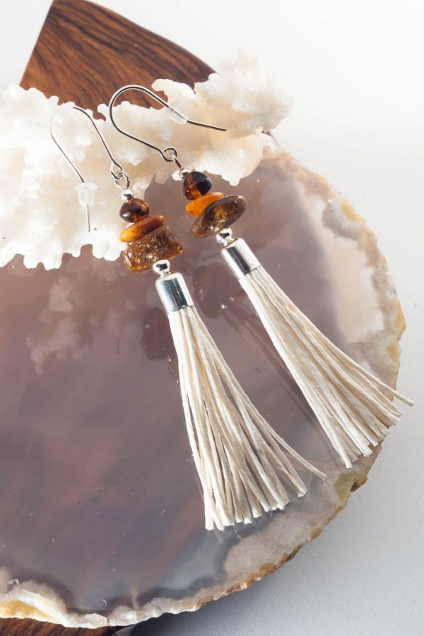 Amber Tassel Earrings IV - 3 Amber Earrings Ertisun Jewellery 7