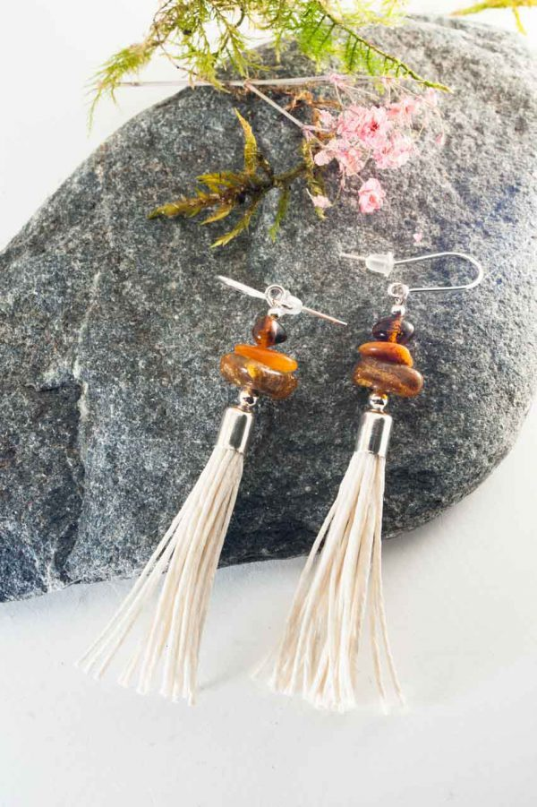 Amber Tassel Earrings IV - 3 Amber Earrings Ertisun Jewellery 8