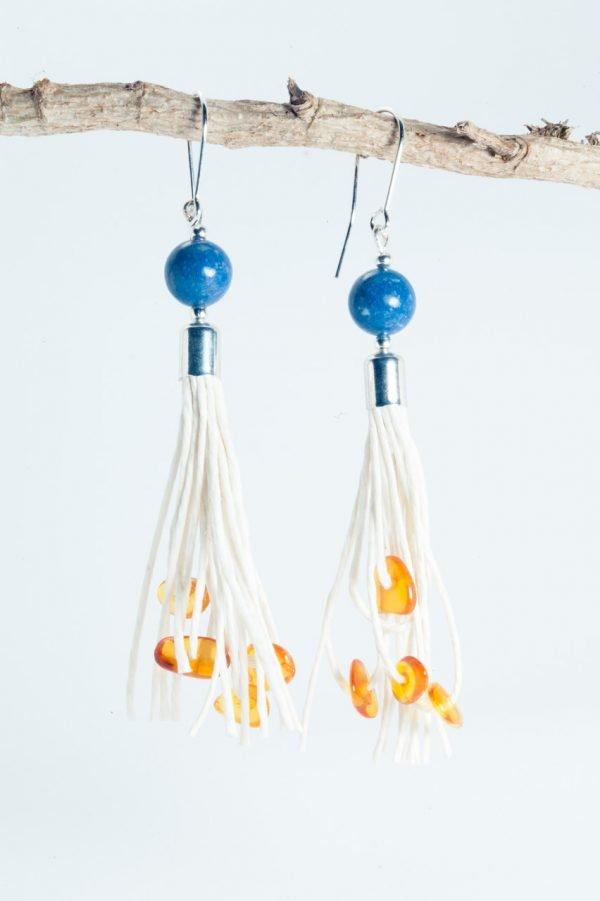 Coral Tassel Earrings - Amber Coral Tassel Earrings Ertisun Jewellery 2