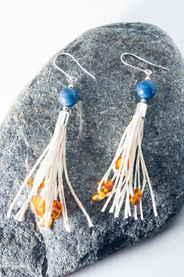 Coral Tassel Earrings - Amber Coral Tassel Earrings Ertisun Jewellery 3