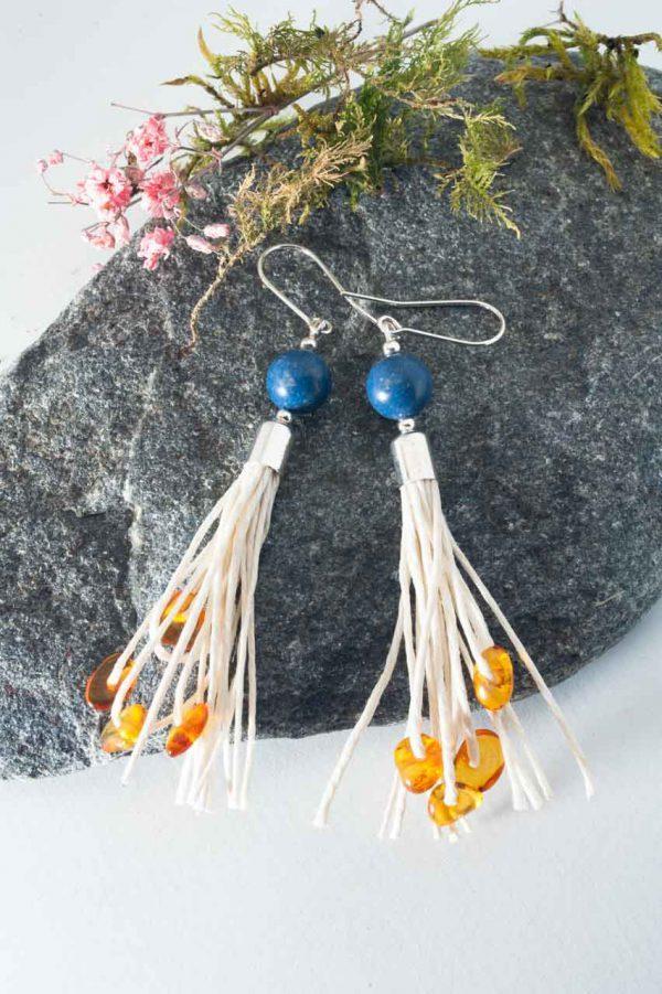 Coral Tassel Earrings - Amber Coral Tassel Earrings Ertisun Jewellery 4