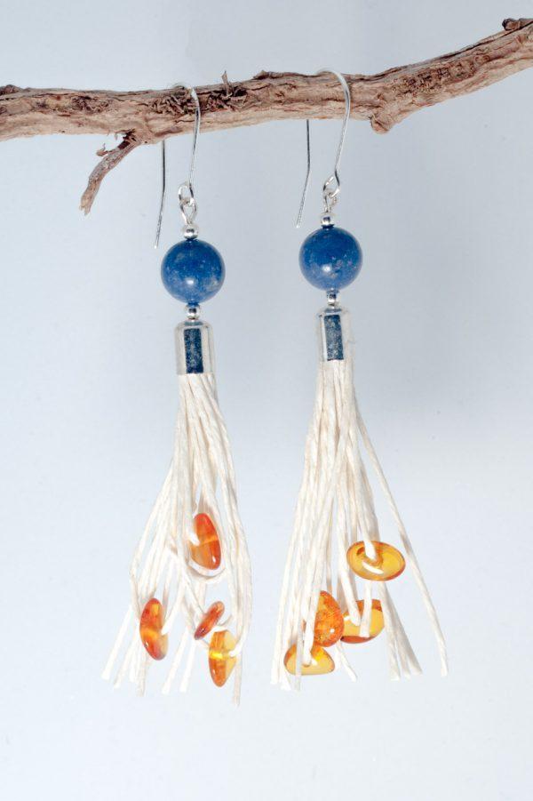 Coral Tassel Earrings - Amber Coral Tassel Earrings Ertisun Jewellery