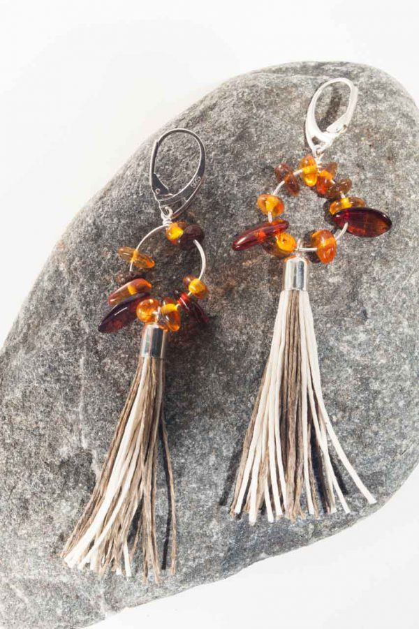 Amber Tassel Earrings II - Amber Round Tassel Earrings Ertisun Jewellery 2