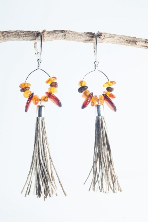 Amber Tassel Earrings II - Amber Round Tassel Earrings Ertisun Jewellery