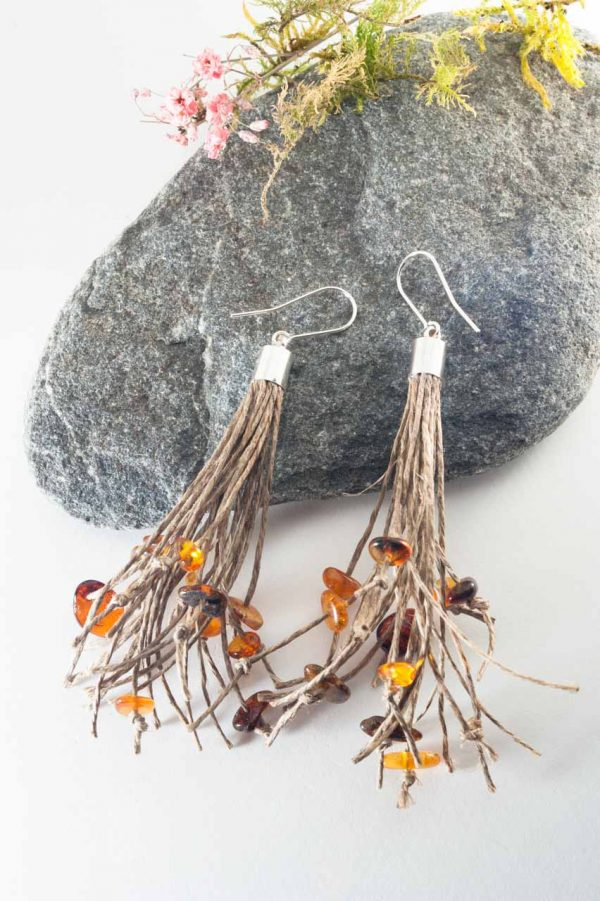 Amber Tassel Earrings - Amber Tassel Earrings Ertisun Jewellery 8