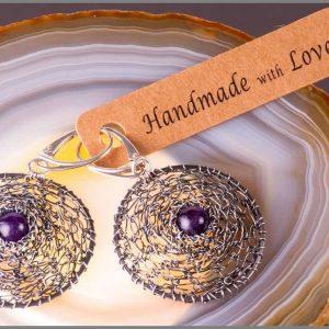 Home - Amethyst in silver net Handmade Jewellery
