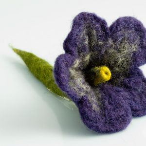 felt flower brooch purple handmade by ertisun