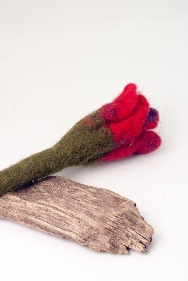 felt brooch red rose handmade in ireland by ertisun