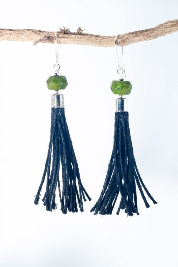 Green Howlite Tassel Earrings - Green Howlite Earrings Ertisun Jewellery