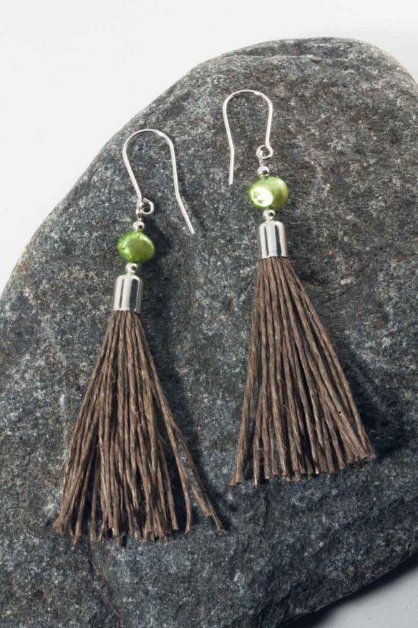 Green Pearl Tassel Earrings - Green Pearl Earrings Ertisun Jewellery 2
