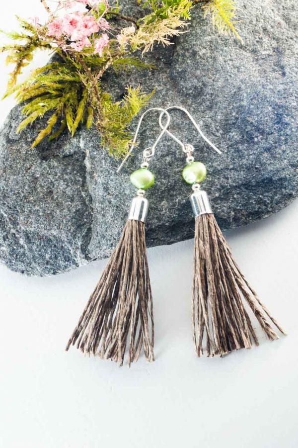 Green Pearl Tassel Earrings - Green Pearl Earrings Ertisun Jewellery 3 1