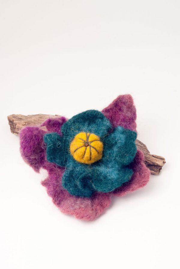 ertisun purple and blue and yellow felt brooch
