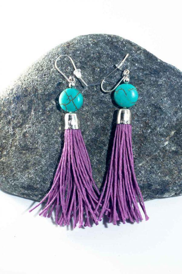 Howlite Tassel Earrings - Howlite Tassel Earrings Ertisun Jewellery 2