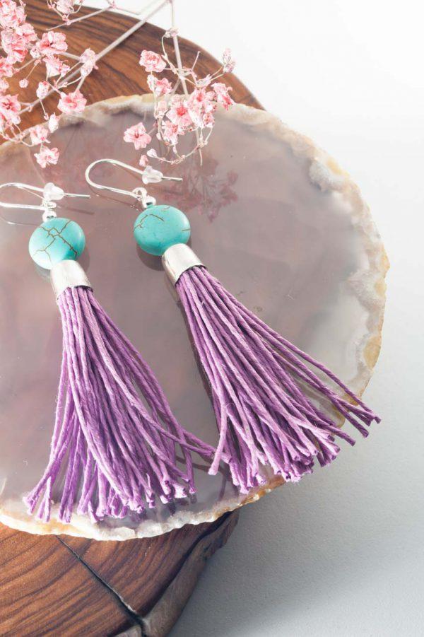 Howlite Tassel Earrings - Howlite Tassel Earrings Ertisun Jewellery 4