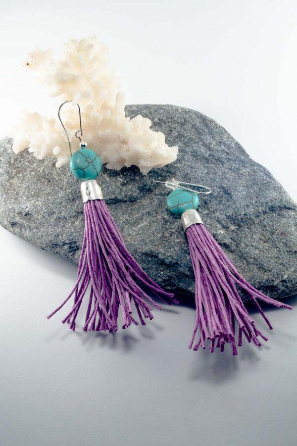 Howlite Tassel Earrings - Howlite Tassel Earrings Ertisun Jewellery