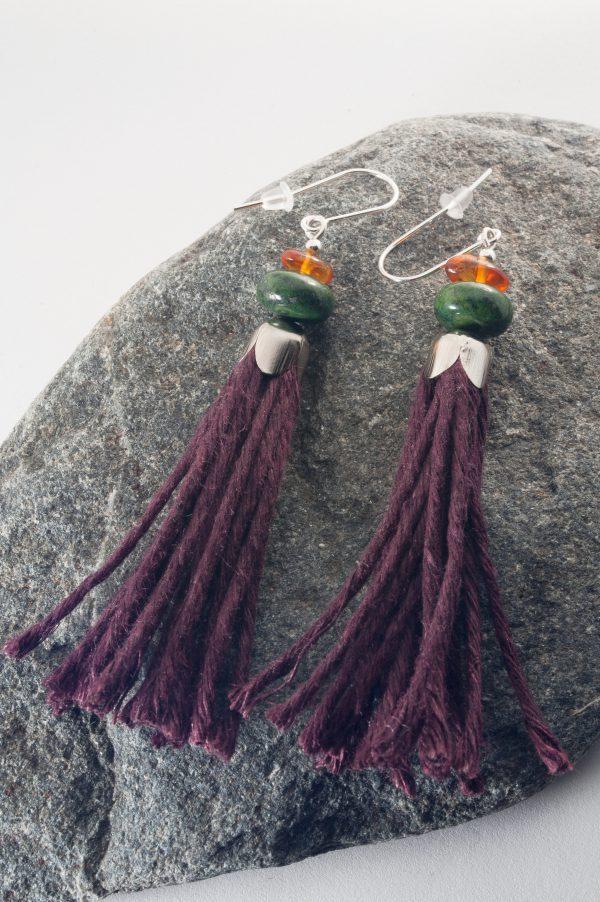 Jasper Tassel Earrings - Jute Amber Jasper Tassel Earrings Edyta Rosinska Ertisun 2