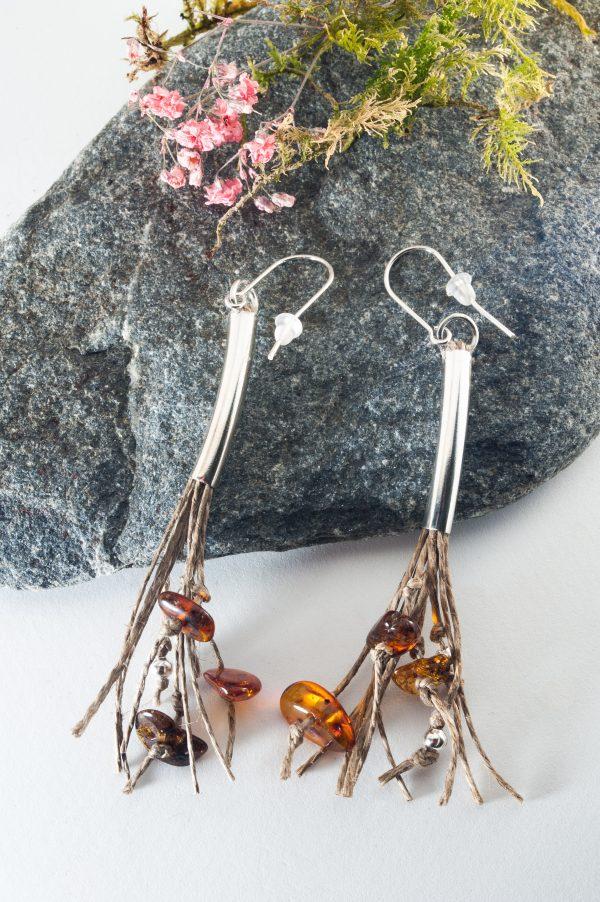 Long Amber Tassel Earrings - Long Amber Tassel Earrings Edyta Rosinska Ertisun 4