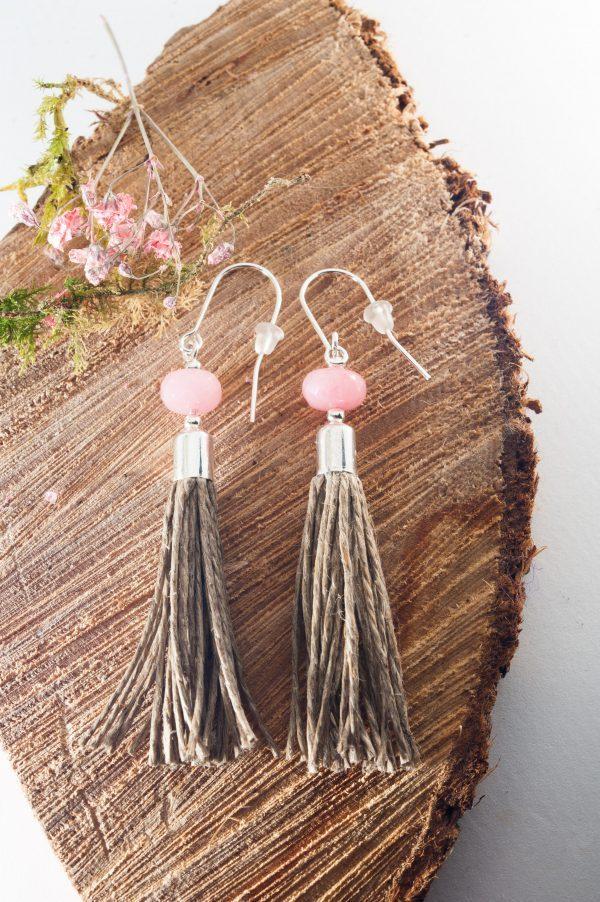 Jedeite Tassel Earrings - Pink Jadeite Earrings Edyta Rosinska Ertisun 4