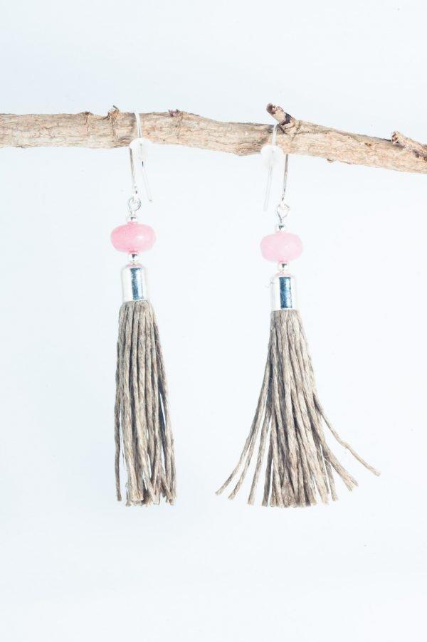 Jedeite Tassel Earrings - Pink Jadeite Earrings Edyta Rosinska Ertisun